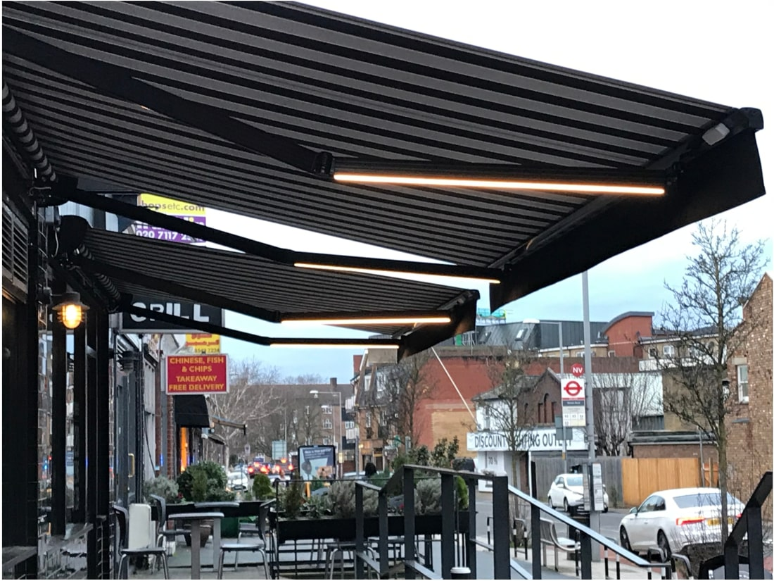 Awnings with lights in the arms: Kingston Upon Thames ...
